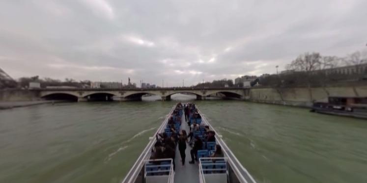 塞纳河巡游巴黎全景视频